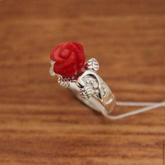Кольца ручной работы. Ярмарка Мастеров - ручная работа. Купить Серебряное кольцо Роза, серебро 925. Handmade. Ярко-красный