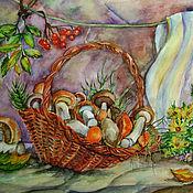 Картины и панно ручной работы. Ярмарка Мастеров - ручная работа Натюрморт с грибами. Handmade.