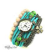 """Украшения ручной работы. Ярмарка Мастеров - ручная работа Часы женские, стильные  """"Время для мечты"""" голубые часы, салатовые часы. Handmade."""