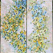 Диптих Большая модульная картина маслом голубые цветы бежевая спальня