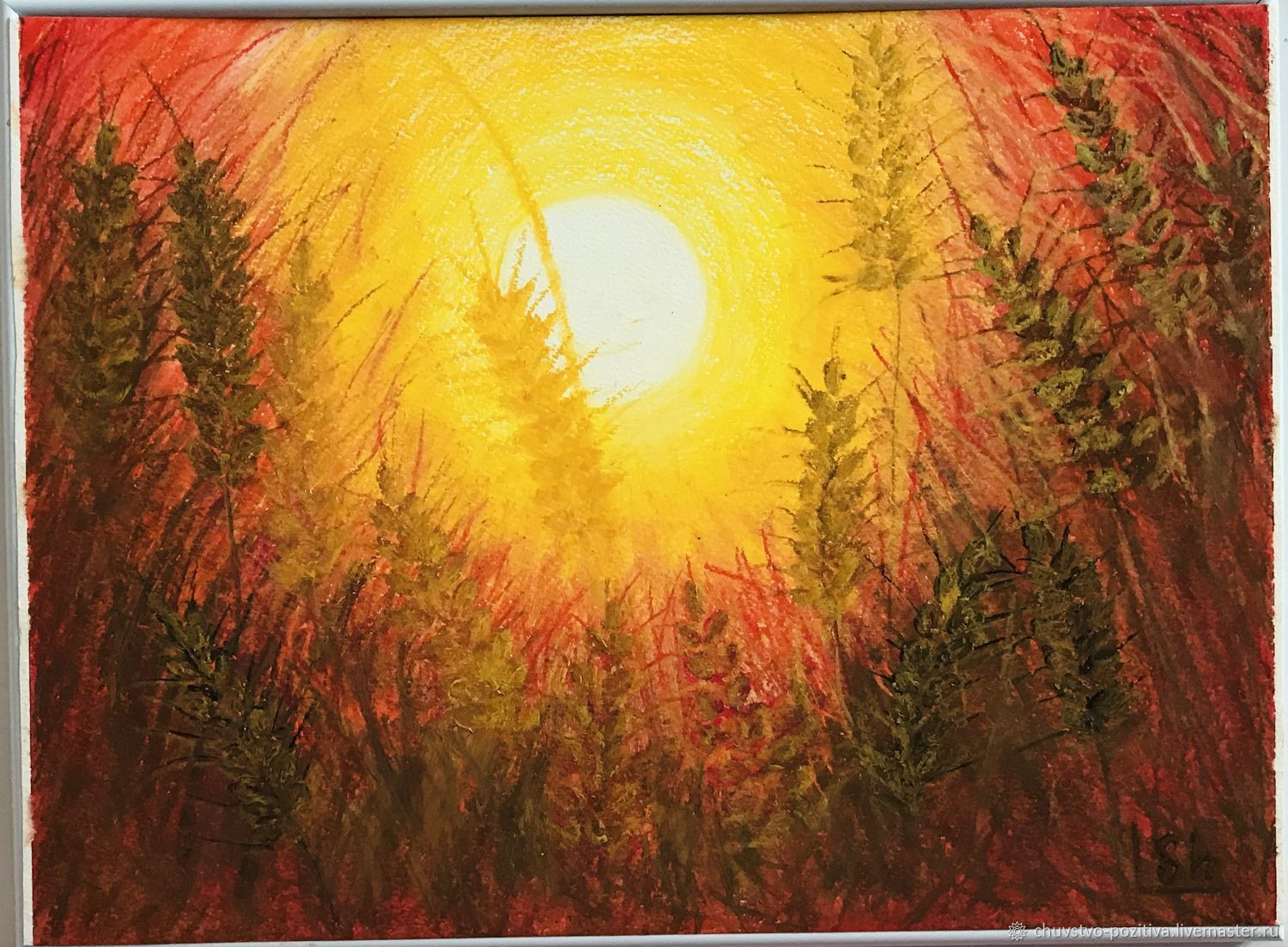 Oil pastel painting with sunset 'Sunset' 40h29,5.  cm, Pictures, Volgograd,  Фото №1
