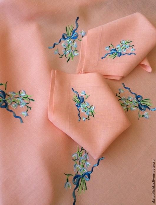 """Текстиль, ковры ручной работы. Ярмарка Мастеров - ручная работа. Купить Скатерть и салфетки льняные с вышивкой """" Весенний первоцвет"""". Handmade."""