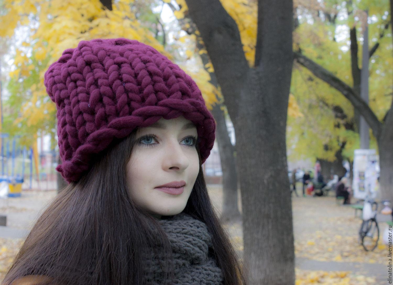 Вязание крупными спицами шапка 179