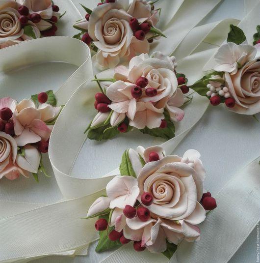 Свадебные украшения ручной работы. Ярмарка Мастеров - ручная работа. Купить Браслет для невесты (для подружек невесты). Handmade. Кремовый