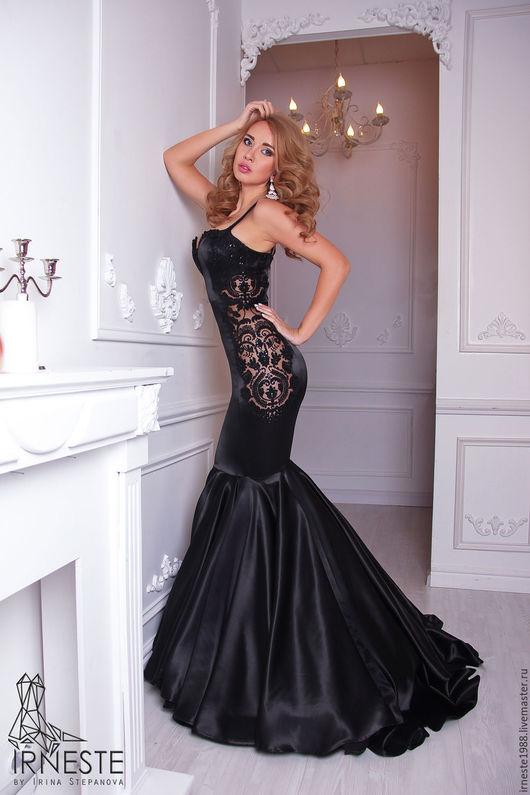 Платья ручной работы. Ярмарка Мастеров - ручная работа. Купить Вечернее платье в пол. Handmade. Черный, платье с кружевом