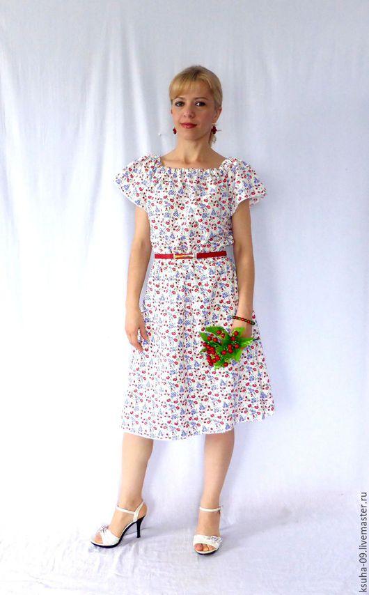 """Платья ручной работы. Ярмарка Мастеров - ручная работа. Купить Платье из льна+хлопок """"Летняя полянка"""". Handmade. Комбинированный, синие цветы"""