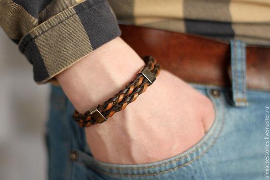 Браслеты ручной работы. Ярмарка Мастеров - ручная работа. Купить Мужской кожаный плетеный браслет коричневый, мужской браслет, браслет. Handmade.