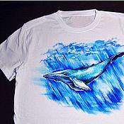 """Одежда ручной работы. Ярмарка Мастеров - ручная работа Футболка """"Синий кит"""" ручная роспись одежды. Handmade."""