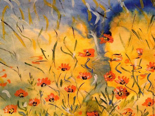 Пейзаж ручной работы. Ярмарка Мастеров - ручная работа. Купить Цветы на поляне.. Handmade. Желтый, подарок подруге, недорогой подарок