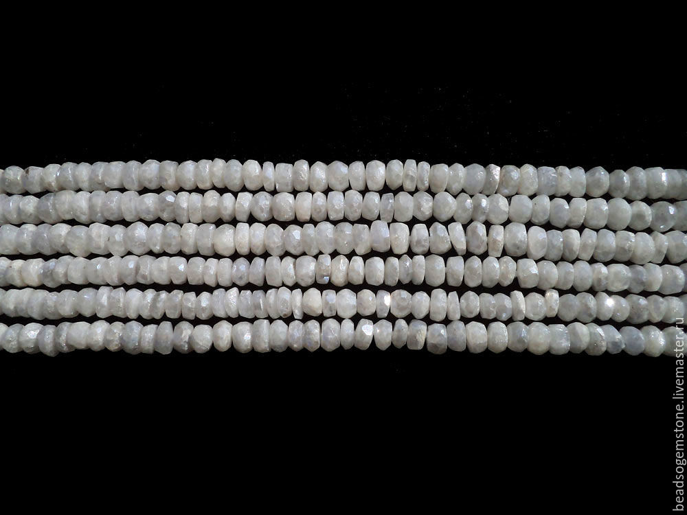 White Sapphire (Coated) Faceted Roundel (Quality AA+) / SAPPHIRE-001, Beads, Moscow,  Фото №1