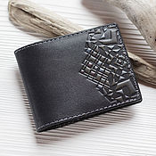 Сумки и аксессуары handmade. Livemaster - original item Wallet cardholders from embossed leather Black grey. Handmade.