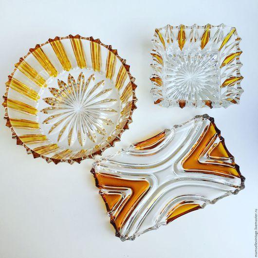 Винтажная посуда. Ярмарка Мастеров - ручная работа. Купить Набор посуды из хрусталя с полосками янтарного цвета. Handmade. Оранжевый, сахарница