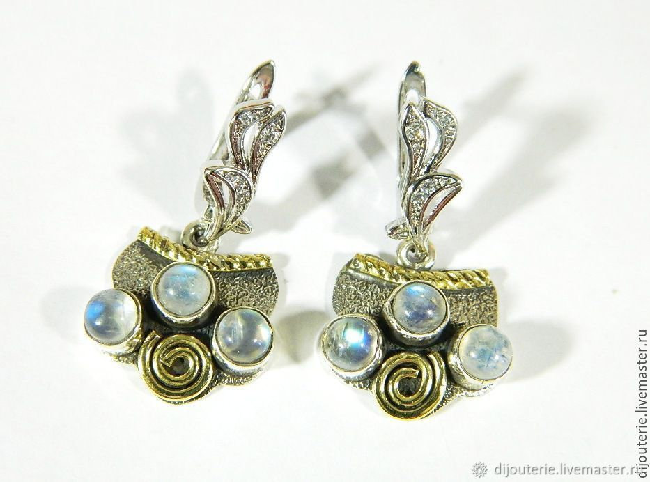 Earrings with moonstone (001), Victorian style, Earrings, Saratov,  Фото №1