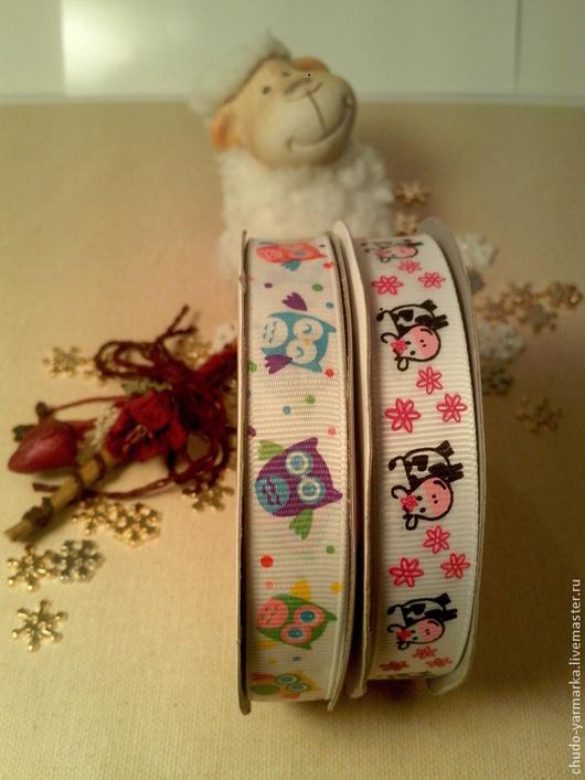 Открытки и скрапбукинг ручной работы. Ярмарка Мастеров - ручная работа. Купить Декоративная лента для детей совы и коровки. Handmade.