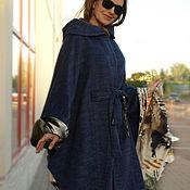 Одежда ручной работы. Ярмарка Мастеров - ручная работа Пальто пончо с капюшоном из шерсти с альпакой синее. Handmade.