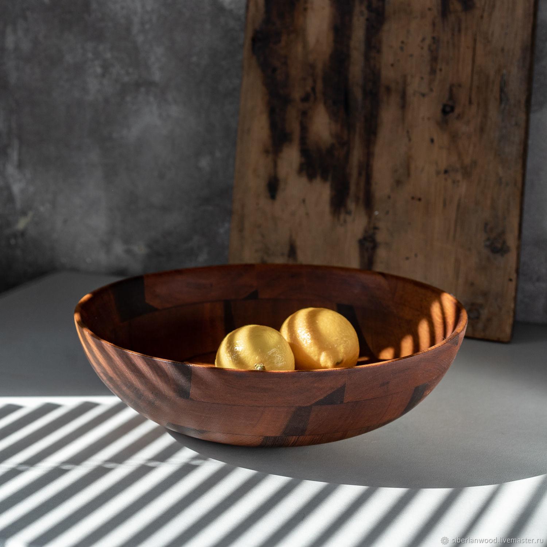 Деревянная глубокая тарелка (салатник) из кедра 300 мм. T173, Тарелки, Новокузнецк,  Фото №1