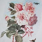 """Картины и панно ручной работы. Ярмарка Мастеров - ручная работа акварель """"Розы """" (1). Handmade."""