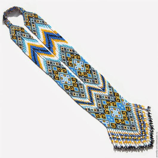 """Колье, бусы ручной работы. Ярмарка Мастеров - ручная работа. Купить Колье-гердан (гайтан) """"Крокусы"""". Handmade. Разноцветный, синий"""