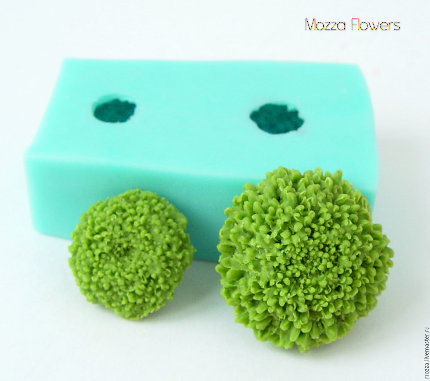 Silicone mold 'Green chrysanthemum', Molds for making flowers, Zarechny,  Фото №1