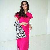 Одежда handmade. Livemaster - original item Pink dress made of Fuchsia cotton lining, loose knitted. Handmade.