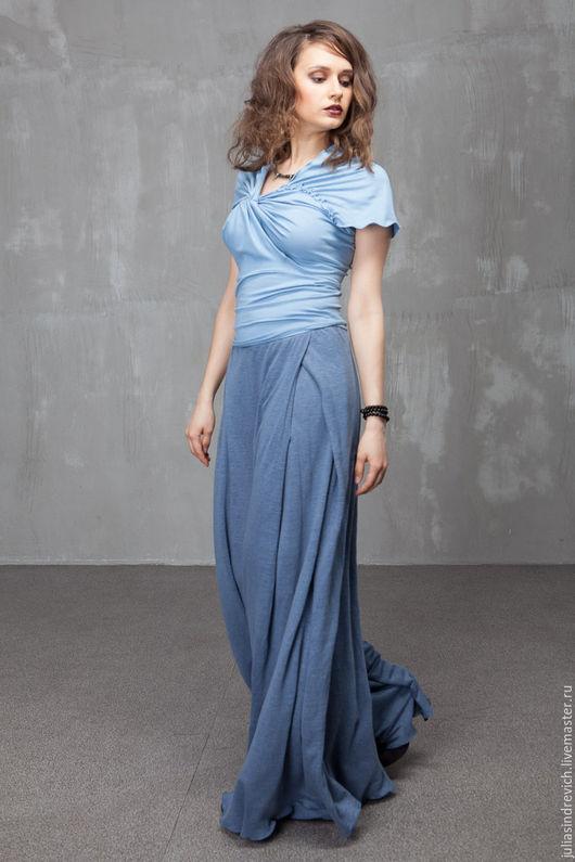 П_019 Брюки-юбка широкие с карманами в бантовых складках и складками-запАхом сзади, цвет джинс.
