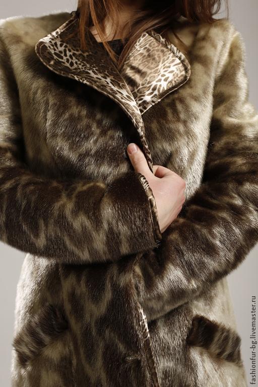 Верхняя одежда ручной работы. Ярмарка Мастеров - ручная работа. Купить Пальто из меха нерпы Яшма. Handmade. Оливковый, шёлк