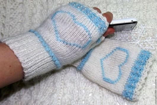 Варежки, митенки, перчатки ручной работы. Ярмарка Мастеров - ручная работа. Купить Митенки короткие