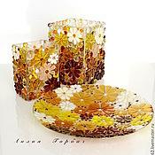 Для дома и интерьера ручной работы. Ярмарка Мастеров - ручная работа ваза из стекла, фьюзинг   Медовая. Handmade.