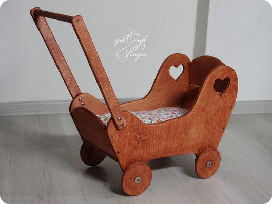 Кукольный дом ручной работы. Ярмарка Мастеров - ручная работа. Купить Ретро коляска (макси) деревянная колясочка  для кукол. Handmade.