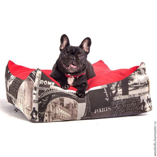 """Аксессуары для собак, ручной работы. Ярмарка Мастеров - ручная работа. Купить Лежанка  """"Париж"""" 60х60 см. Handmade. Ярко-красный"""