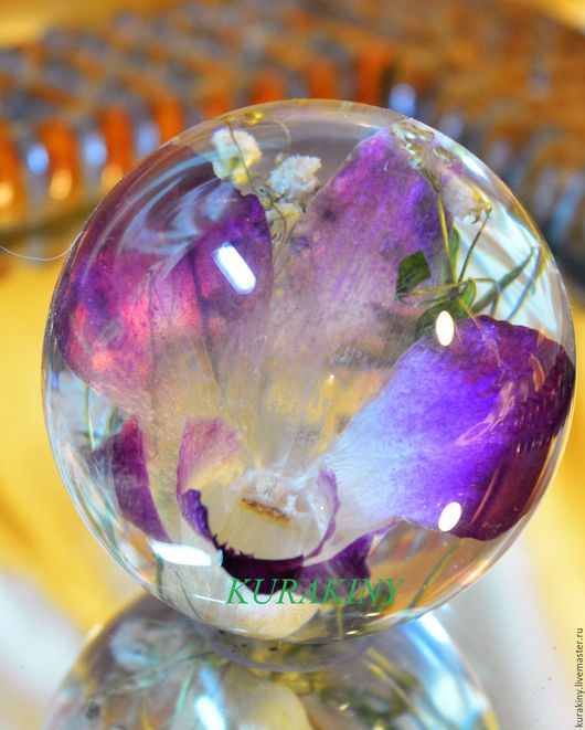 """Персональные подарки ручной работы. Ярмарка Мастеров - ручная работа. Купить Стеклянный шар-""""Орхидея"""". Handmade. Фиолетовый"""