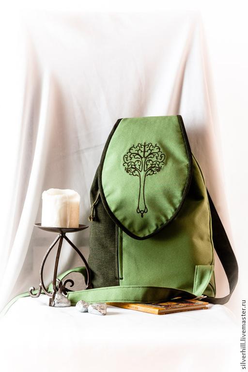 """Рюкзаки ручной работы. Ярмарка Мастеров - ручная работа. Купить Текстильный рюкзак """"Граница Леса"""". Handmade. Рюкзак, тёмно-зелёный"""
