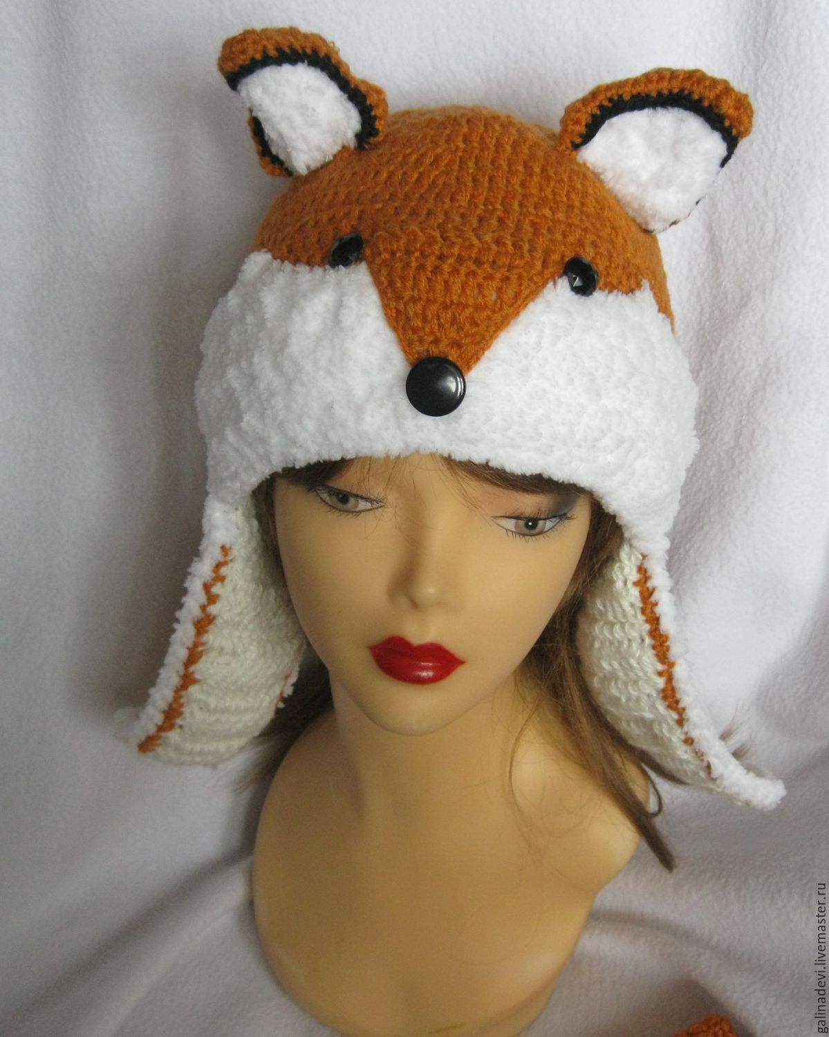 HAT, FOX knitted warm for women, Caps, Moscow,  Фото №1