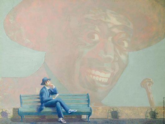 """Фантазийные сюжеты ручной работы. Ярмарка Мастеров - ручная работа. Купить """" Армстронг"""". Handmade. Голубой, музыка, ретро стиль"""