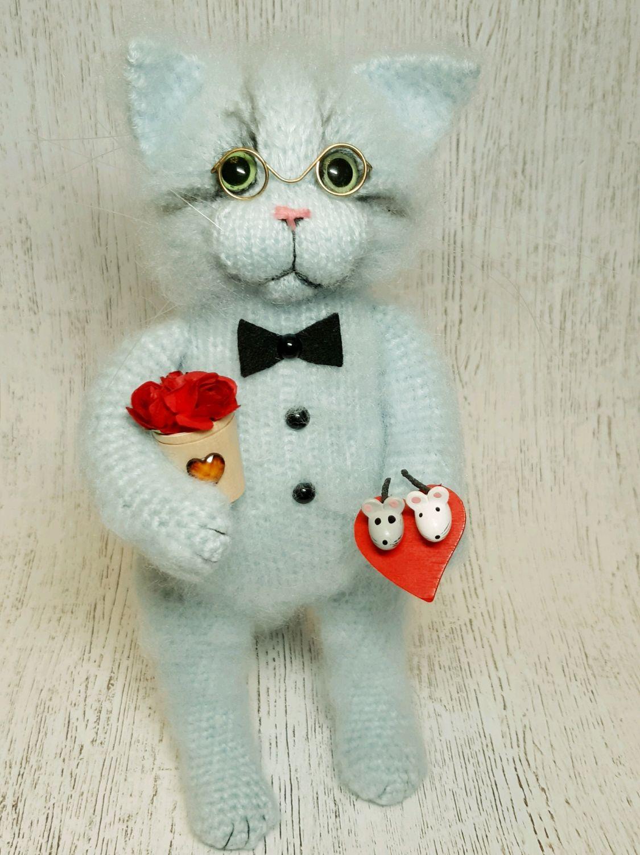 Вязаный Кот с цветами, Мягкие игрушки, Санкт-Петербург,  Фото №1
