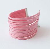 Украшения ручной работы. Ярмарка Мастеров - ручная работа Браслет из кожи розовый Летний вечер. Handmade.