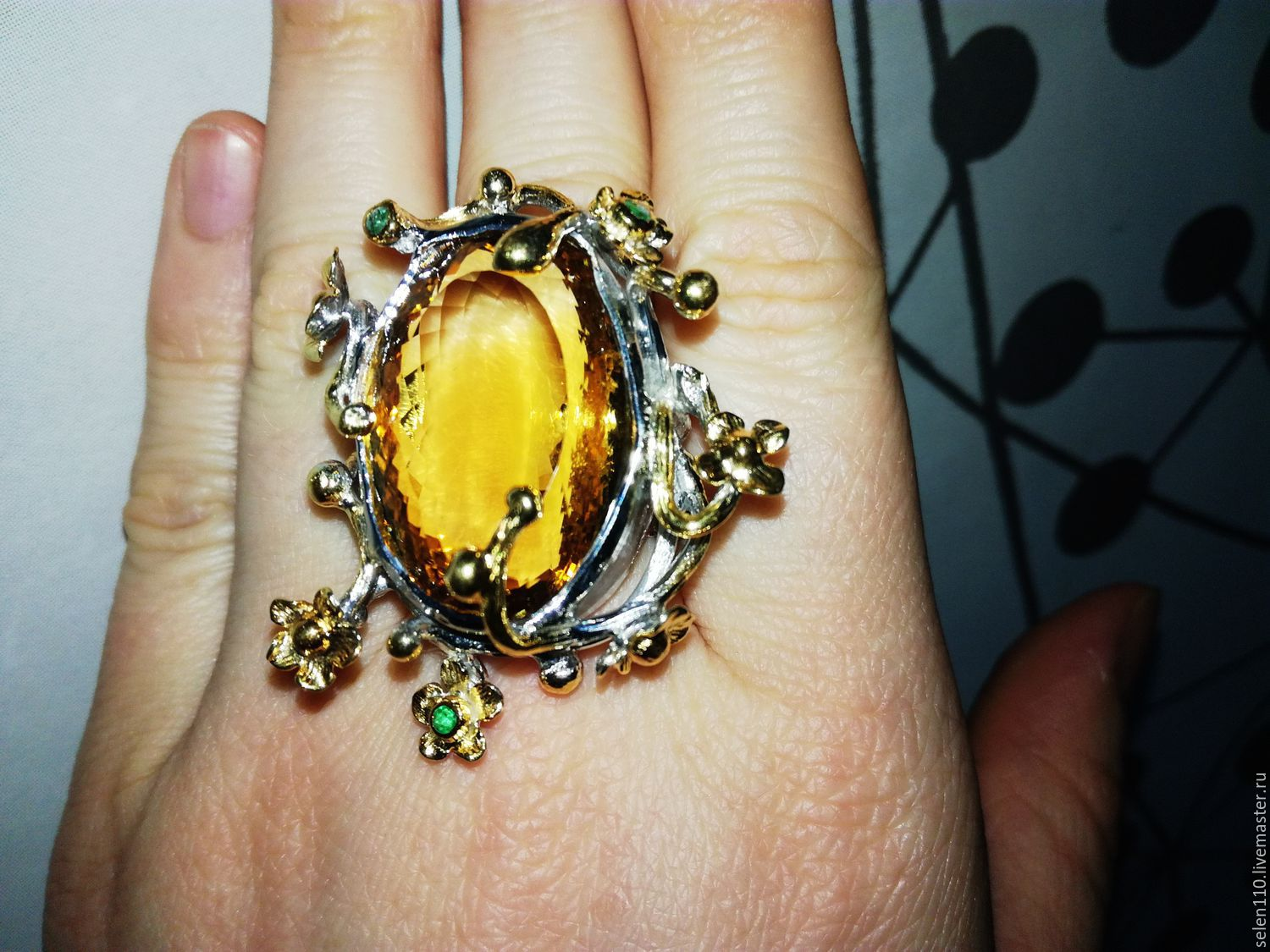 Ring 'Solar summer' with citrine and emeralds, Rings, Voronezh,  Фото №1