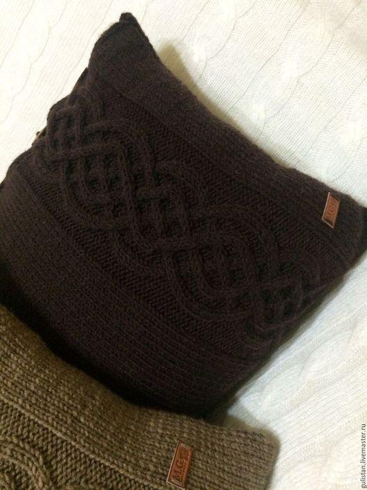 Текстиль, ковры ручной работы. Ярмарка Мастеров - ручная работа. Купить Подушка вязаная с орнаментом (2). Handmade. Коричневый