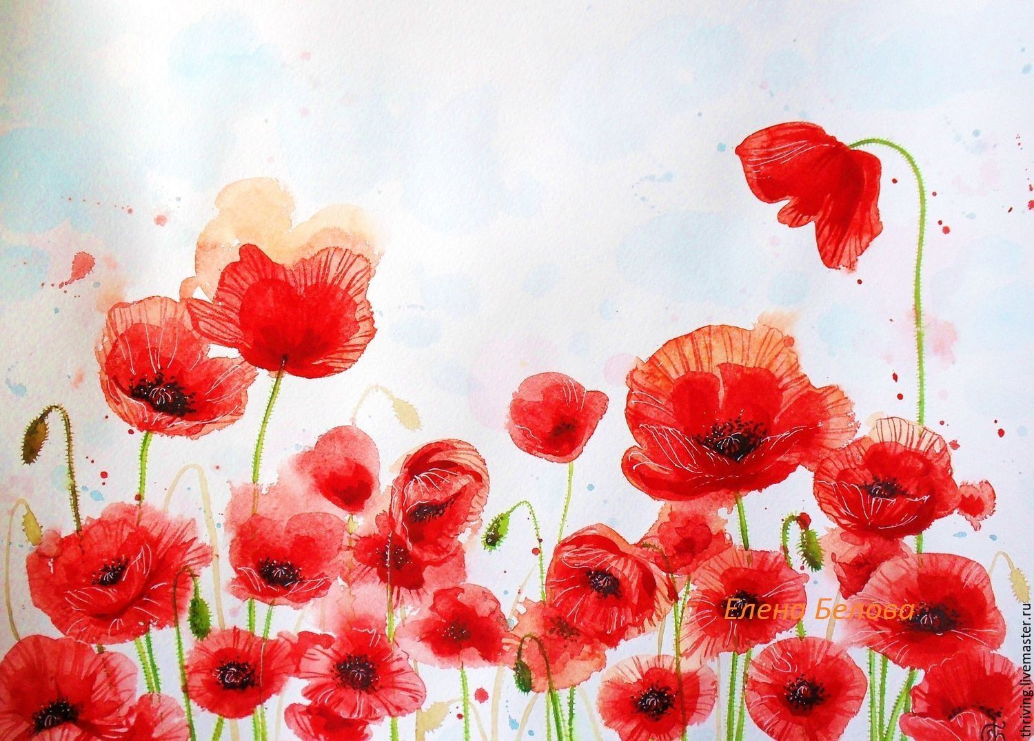 Painting poppies flowers for interior living room bedroom red white buy painting with poppies bright poppies painting painting poppies painting with red flowers mightylinksfo