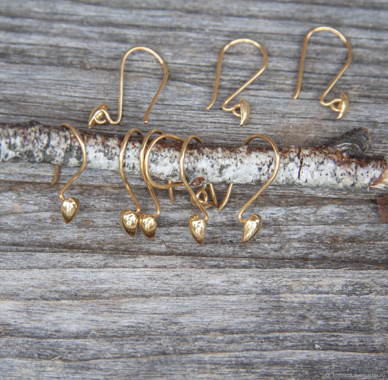 Швензы серебряные позолоченные Капелька ручной работы, Швензы, Москва,  Фото №1