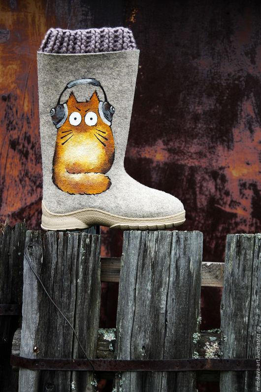 """Обувь ручной работы. Ярмарка Мастеров - ручная работа. Купить Валенки """" Pookie cat"""". Handmade. Серый, pookie cat"""