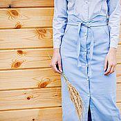Одежда ручной работы. Ярмарка Мастеров - ручная работа Джинсовая юбка с фигурным поясом. Handmade.