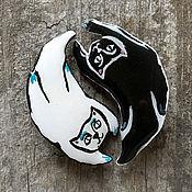 Украшения handmade. Livemaster - original item Brooch set black and white cats