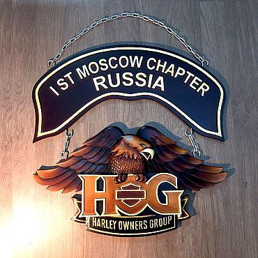 Картины и панно ручной работы. Ярмарка Мастеров - ручная работа Логотип московского клуба «HOG» HarleyDavidson. Handmade.