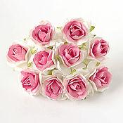 Материалы для творчества ручной работы. Ярмарка Мастеров - ручная работа Роза кудрявая 3 см белый+розовый средний, 1 шт.. Handmade.