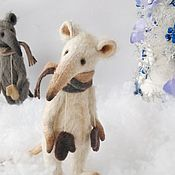 Тедди Зверята ручной работы. Ярмарка Мастеров - ручная работа Тедди Зверята: Крыс белый Хью. Handmade.