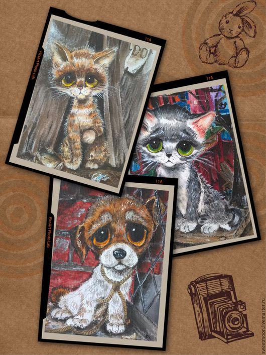 Винтажные текстильные купоны-открытки:`Котенок и Щенок`