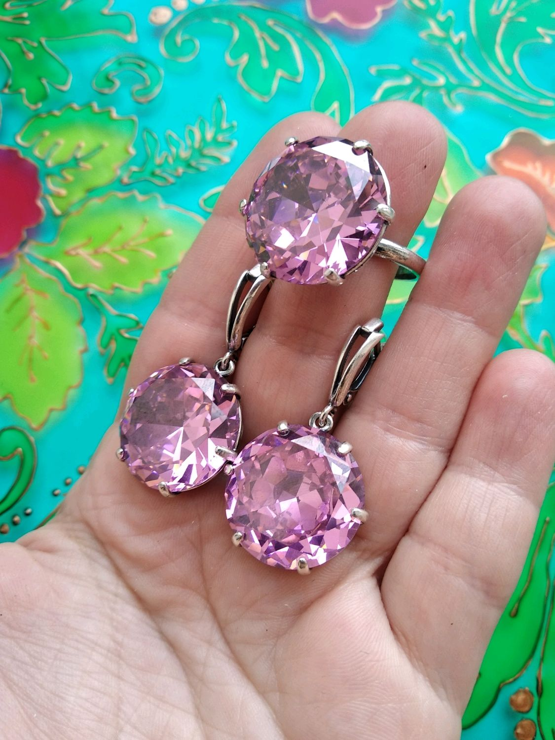 129 Set silver earrings and ring with glass and cubic Zirconia, Jewelry Sets, Ivanovo,  Фото №1