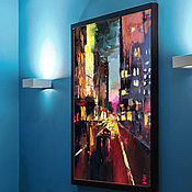 Pictures handmade. Livemaster - original item Buy oil painting abstraction Night City large strokes. Handmade.