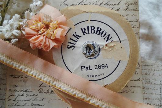Вышивка ручной работы. Ярмарка Мастеров - ручная работа. Купить Антикварная лента Германия 23 мм., цена за 5 см., цвет персиковый. Handmade.